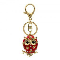 Creative Big Eye Owl Shape Decoration Rhinestone Key Chain -