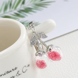 Creative Cute Cherry Shape Decoration Rhinestone Key Chain -