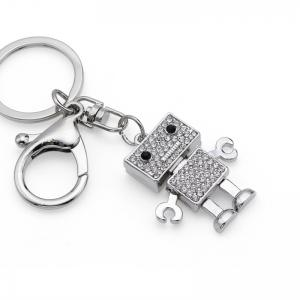 Creative Robot Shape Decoration Rhinestone Key Chain -
