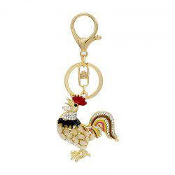 Creative Cock Shape Decoration Rhinestone Key Chain -
