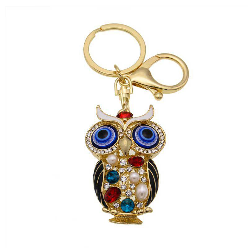 Творческий красочный сова формы украшения Rhinestone Key Chain