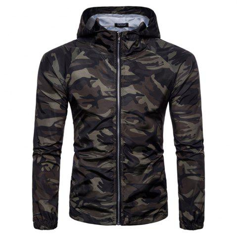 Online 2018 New Spring and Summer Men's Camouflage Hooded Sunscreen Casual Jacket