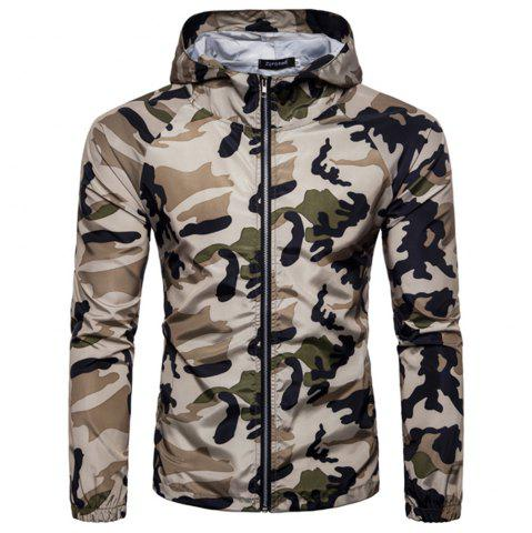 Sale 2018 New Spring and Summer Men's Camouflage Hooded Sunscreen Casual Jacket