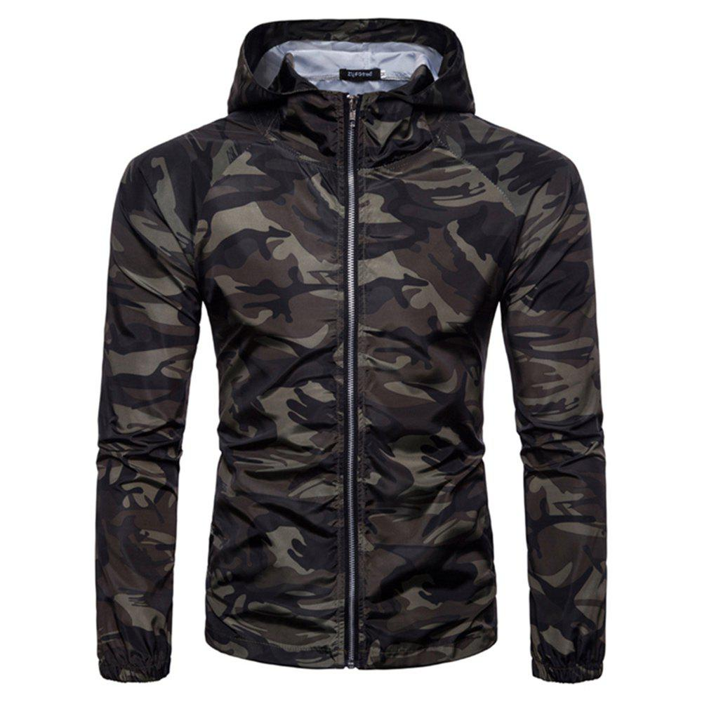 Shops 2018 New Spring and Summer Men's Camouflage Hooded Sunscreen Casual Jacket