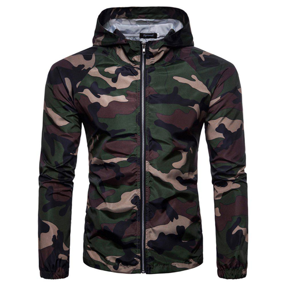 Buy 2018 New Spring and Summer Men's Camouflage Hooded Sunscreen Casual Jacket