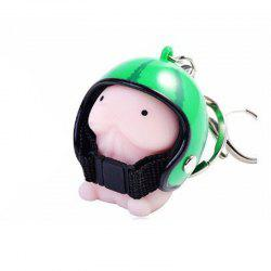 Jumbo Squishy Cartoon Boy with Helmet Cute Keychain Squeeze Stress Reliever Toy -