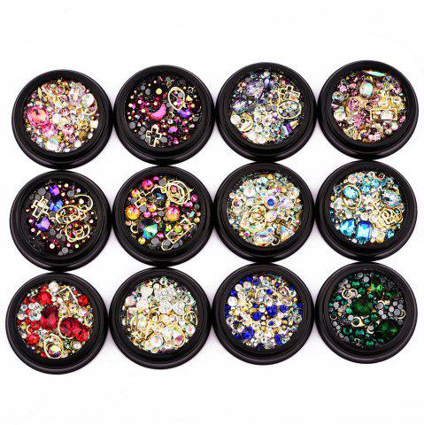 Nail Sticker Bijoux 4 MM Black Box Symphonie Plat Diamant Elf Perles Gemstone Circle 12 En Option