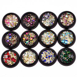 Nail Sticker Bijoux 4 MM Black Box Symphonie Plat Diamant Elf Perles Gemstone Circle 12 En Option -