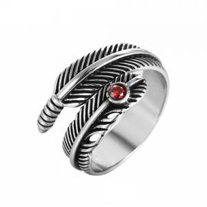 Titanium Steel Fashion Personality Feather Ruby Ring Woman -