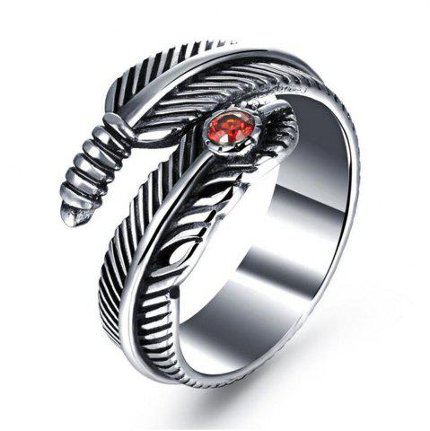 Shops Titanium Steel Fashion Personality Feather Ruby Ring Woman