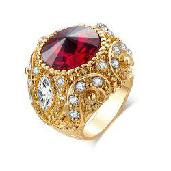 Titanium Steel Fashion Personality Gold Crown Inlay Glass Ruby Ring Woman Men -