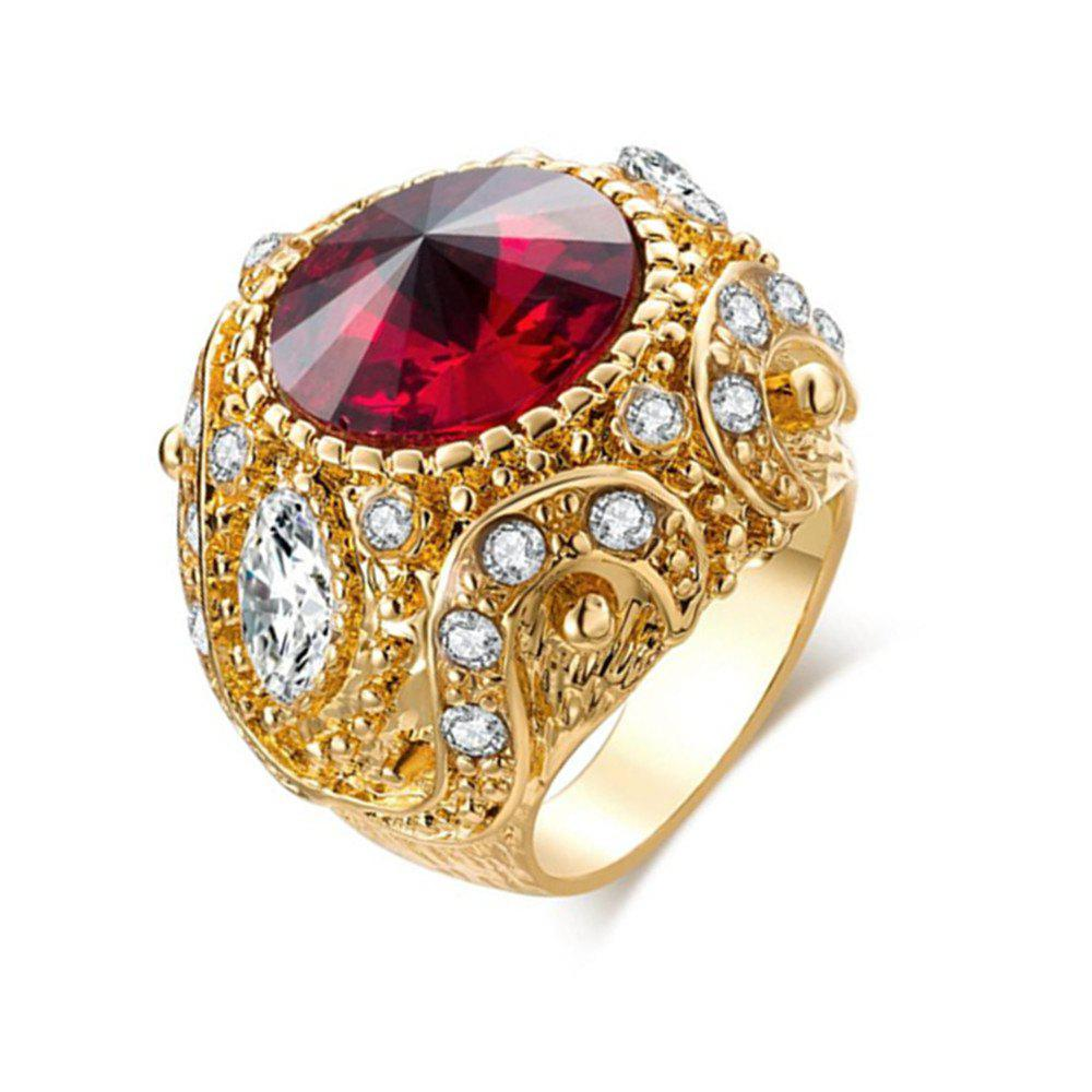 Fancy Titanium Steel Fashion Personality Gold Crown Inlay Glass Ruby Ring Woman Men
