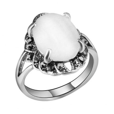 Shops Stylish Personality Black Diamond White Cat Eye Stone Ring Woman