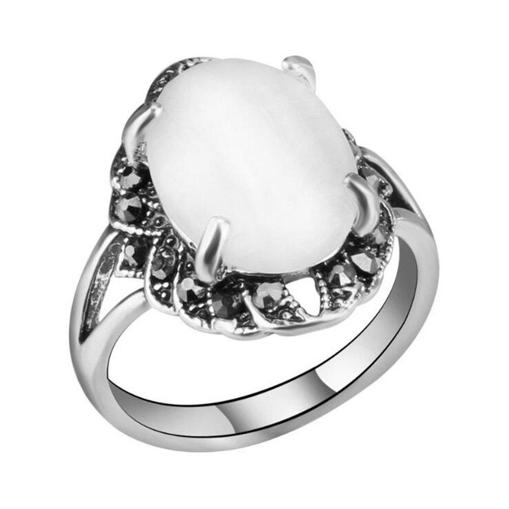 New Stylish Personality Black Diamond White Cat Eye Stone Ring Woman