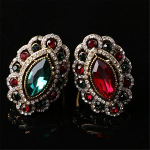 Stylish Personality Colorful Diamonds Red Emerald Ring Woman -