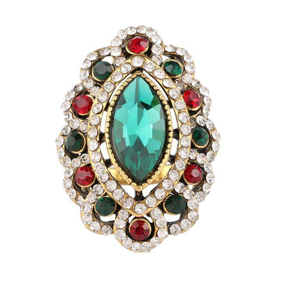 Trendy Stylish Personality Colorful Diamonds Red Emerald Ring Woman