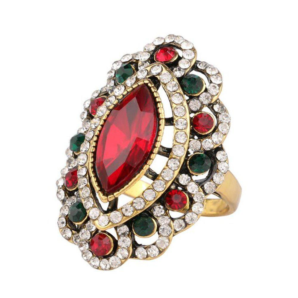Sale Stylish Personality Colorful Diamonds Red Emerald Ring Woman