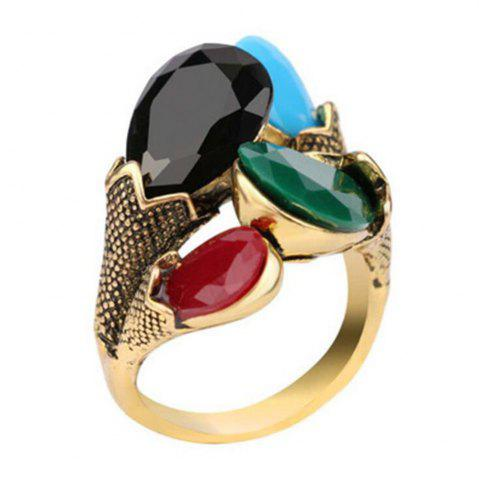 Online Fashion Personality Mixed Emerald Ring Woman Gold