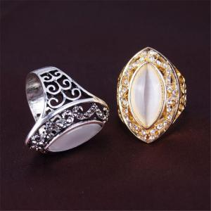 Personnalité de mode Blanc Cat Eye Ring Femme Or -