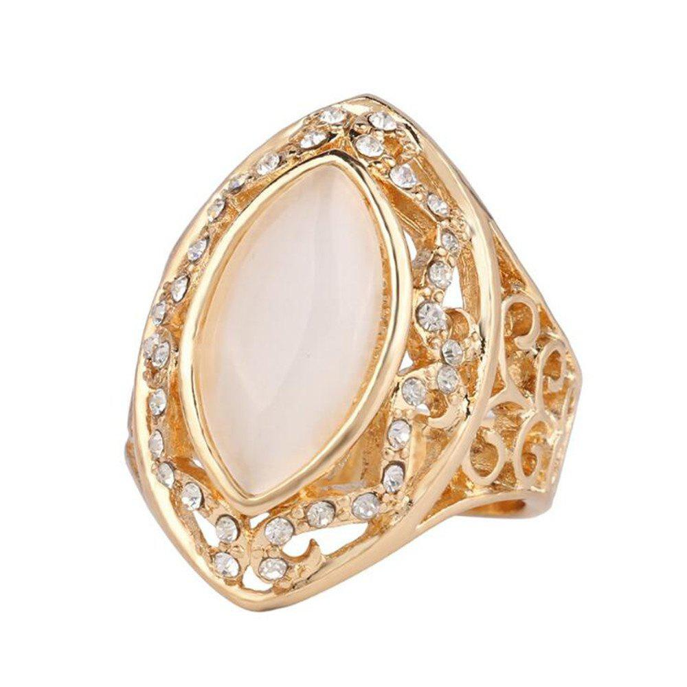 Personnalité de mode Blanc Cat Eye Ring Femme Or