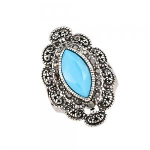 Fashionable Personality Turquoise Black Ruby Ring Woman -