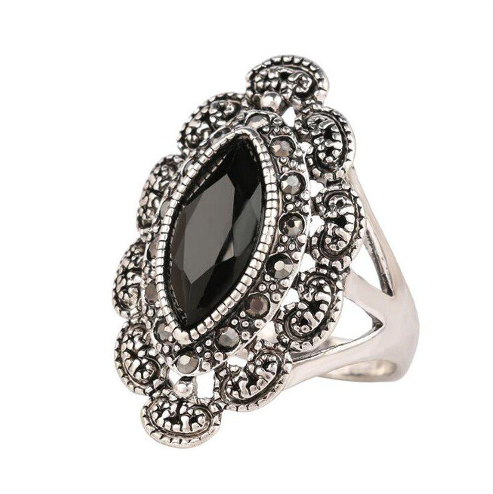 Trendy Fashionable Personality Turquoise Black Ruby Ring Woman