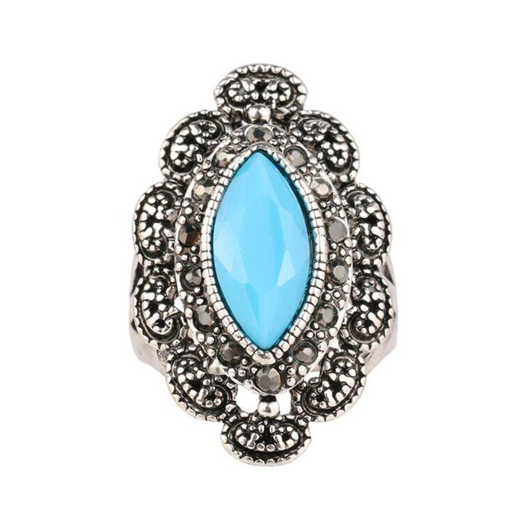 Fancy Fashionable Personality Turquoise Black Ruby Ring Woman