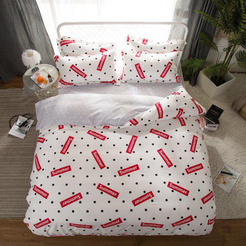 South Cloud 4 Pcs Ensemble de Literie Moderne Creative Dots Motif Lettres Imprimer Doux Cosy Ensemble de Draps