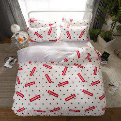 South Cloud 4 Pcs Bedding Set Modern Creative Dots Pattern Letters Print Soft Cozy Sheet Sets -