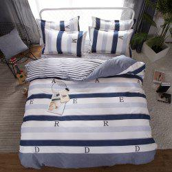 South Cloud 4 Pcs Bedding Set Modern Letter Print Color Block Striped Soft Cozy Sheet Set -