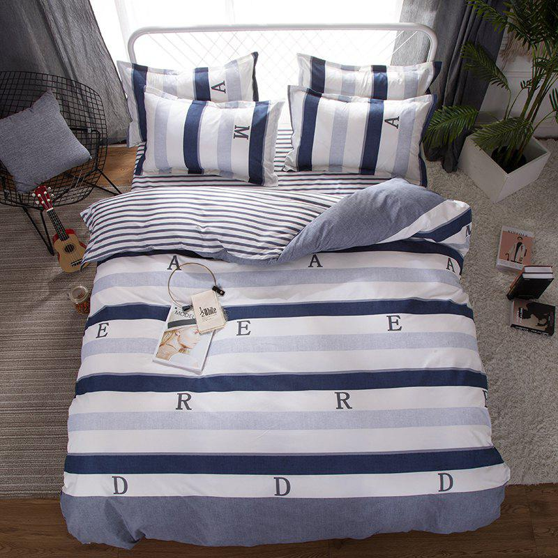 Affordable South Cloud 4 Pcs Bedding Set Modern Letter Print Color Block Striped Soft Cozy Sheet Set
