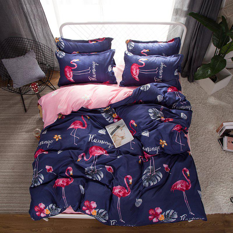 Latest South Cloud 4 Pcs Bedclothes Set Beautiful Flamingo Pattern Soft Bed Sheet Set