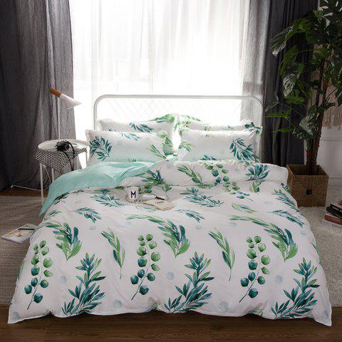 Outfit South Cloud 4 Pcs Bedclothes Set Fresh Style Leaves Pattern Soft Bed Sheet Set