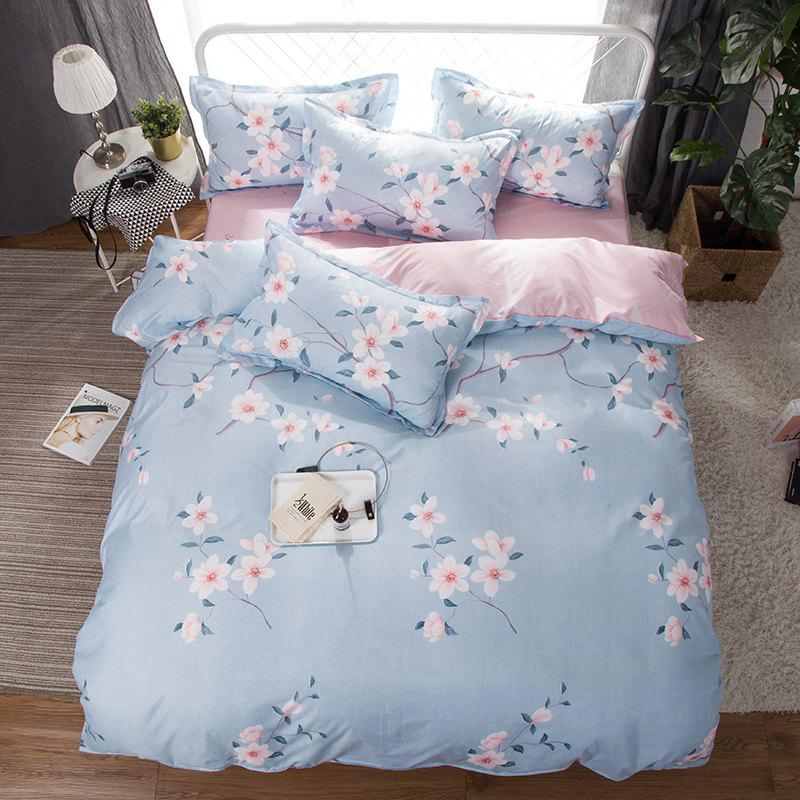 Unique South Cloud 4 Pcs Bedclothes Fresh Flower Pattern Soft Bed Sheet Set