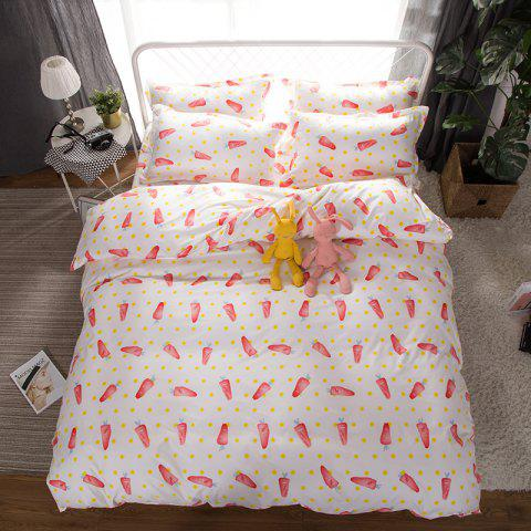 Store South Cloud 4 Pcs Bedsheet Set Lovely Style Cartoon Carrot Pattern Comfy Bedding Sets