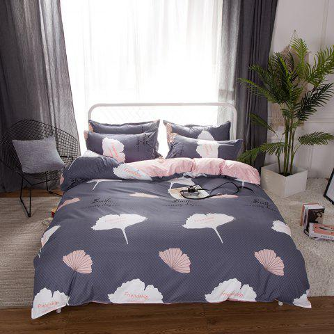 Trendy South Cloud 4 Pcs Duvet Cover Set Ginkgo Leaves Pattern Comfy Ductile Bedding Sets