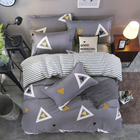 New South Cloud 4 Pcs Bedding Cover Set Simple Solid Geometric Pattern Ductile Bedsheet Sets