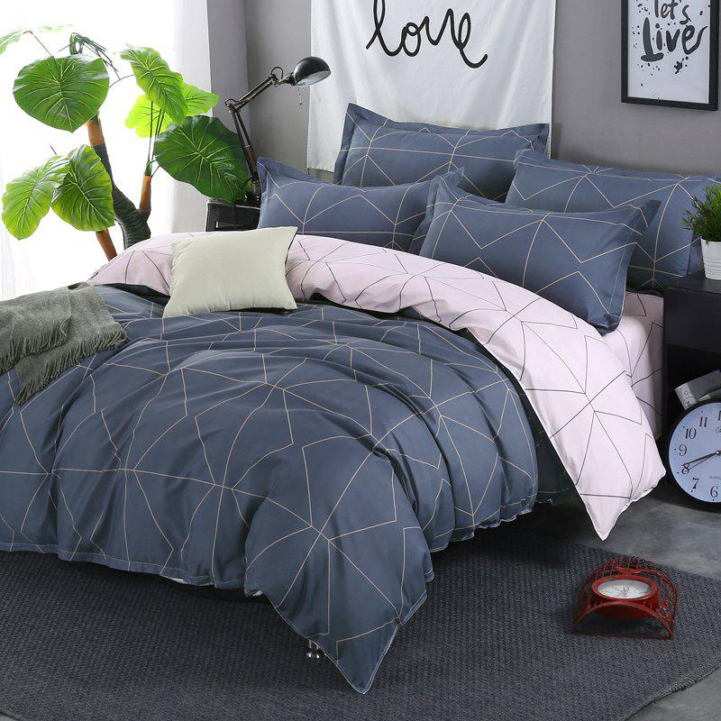 Fancy South Cloud 4 Pcs Bedding Cover Set Simple Solid Geometric Pattern