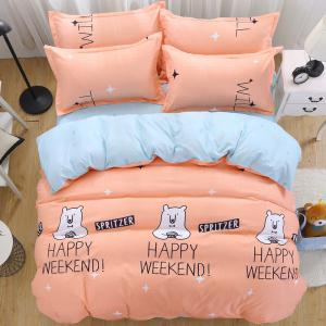 South Cloud 4 Pcs Bedclothes Cartoon Lovely Bear Themed Home Soft Bedsheet Set -