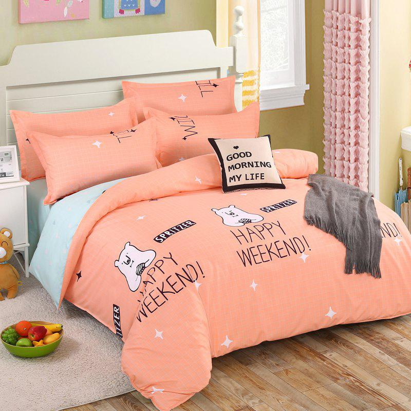Online South Cloud 4 Pcs Bedclothes Cartoon Lovely Bear Themed Home Soft Bedsheet Set