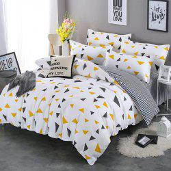 South Cloud 4 Pcs Bedclothes Elegant Geometric Triangle Pattern Supple Bedsheet Set -