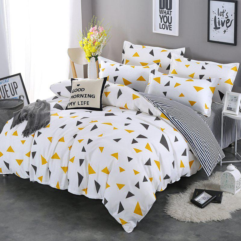 Store South Cloud 4 Pcs Bedclothes Elegant Geometric Triangle Pattern Supple Bedsheet Set