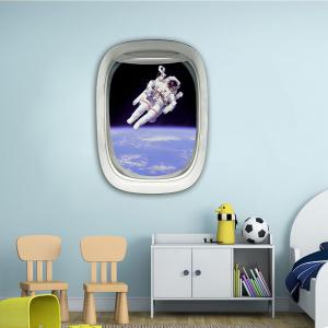 Sticker mural 3D Sky Ground Building Belle décoration de paysage XQ030018 -