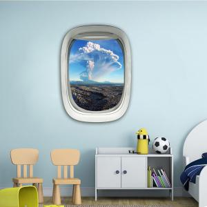 Sticker mural 3D Sky Ground Building Belle décoration de paysage XQ030025 -