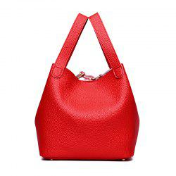 Litchi Pattern Solid Color Mosaic Bucket Shoulder Handbag -