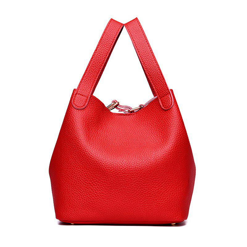Outfits Litchi Pattern Solid Color Mosaic Bucket Shoulder Handbag