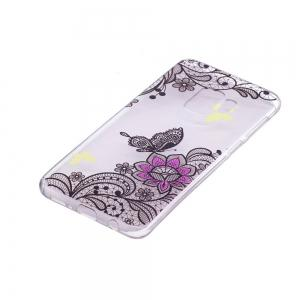 TPU Material Diagonal Flower Pattern Painted Phone Case for Samsung Galaxy S9 -