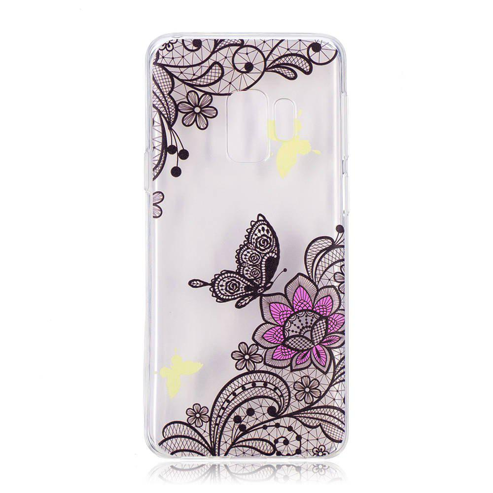 Trendy TPU Material Diagonal Flower Pattern Painted Phone Case for Samsung Galaxy S9