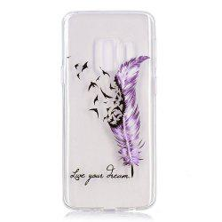 TPU Material Feather Pattern Painted Phone Case for Samsung Galaxy S9 Plus -