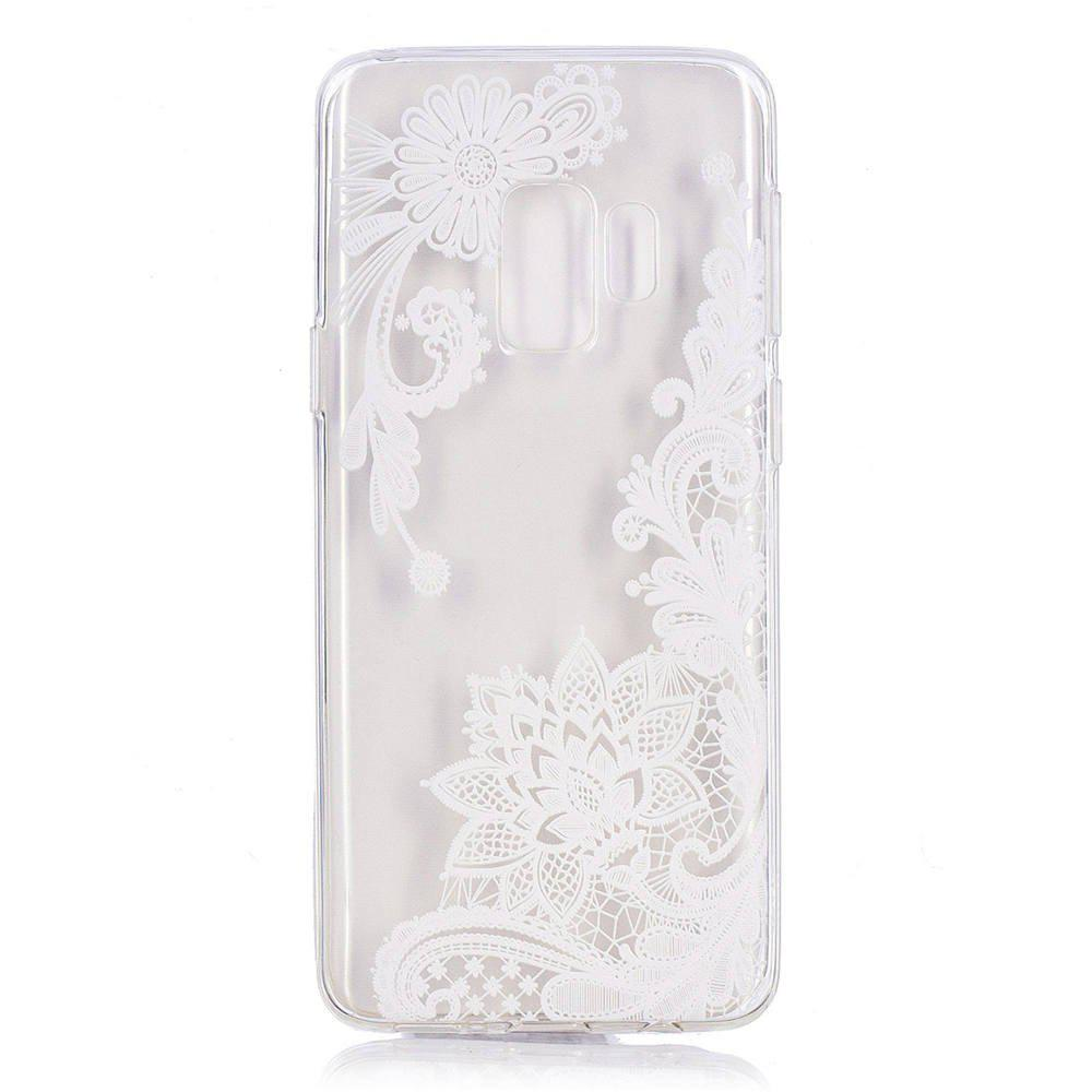 Sale TPU Material White Rose Pattern Painted Phone Case for Samsung Galaxy S9 Plus